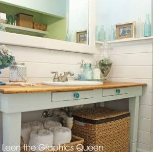 Sea glass inspired coastal bathroom remodel sand dollar lane for Shared bathroom ideas