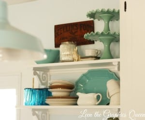 kitchen shelving in coastal cottage