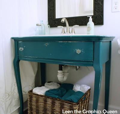 beachy turquoise bathroom vanity - sand dollar lane