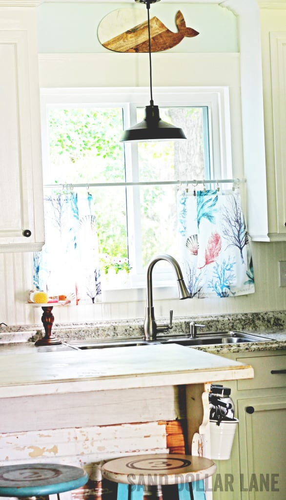 Coastal style curtains in bright farmhouse kitchen