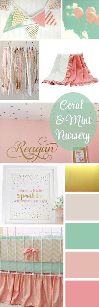 beautiful coral, blush, mint and gold nursery ideas
