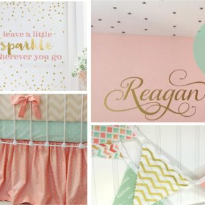 coral blush mint gold nursery ideas