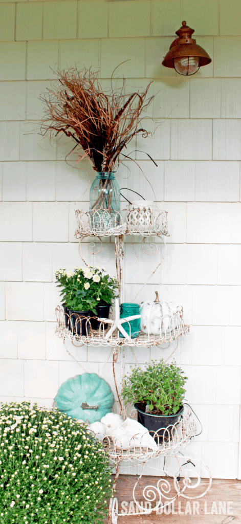 aqua white and copper coastal style Fall front porch accents