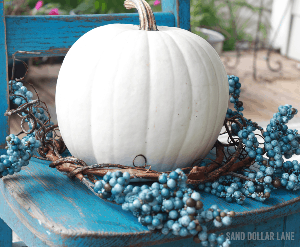 White pumpkins are perfect for coastal Fall decor!