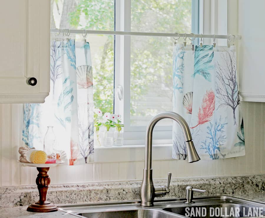 Easy Coastal Kitchen curtains