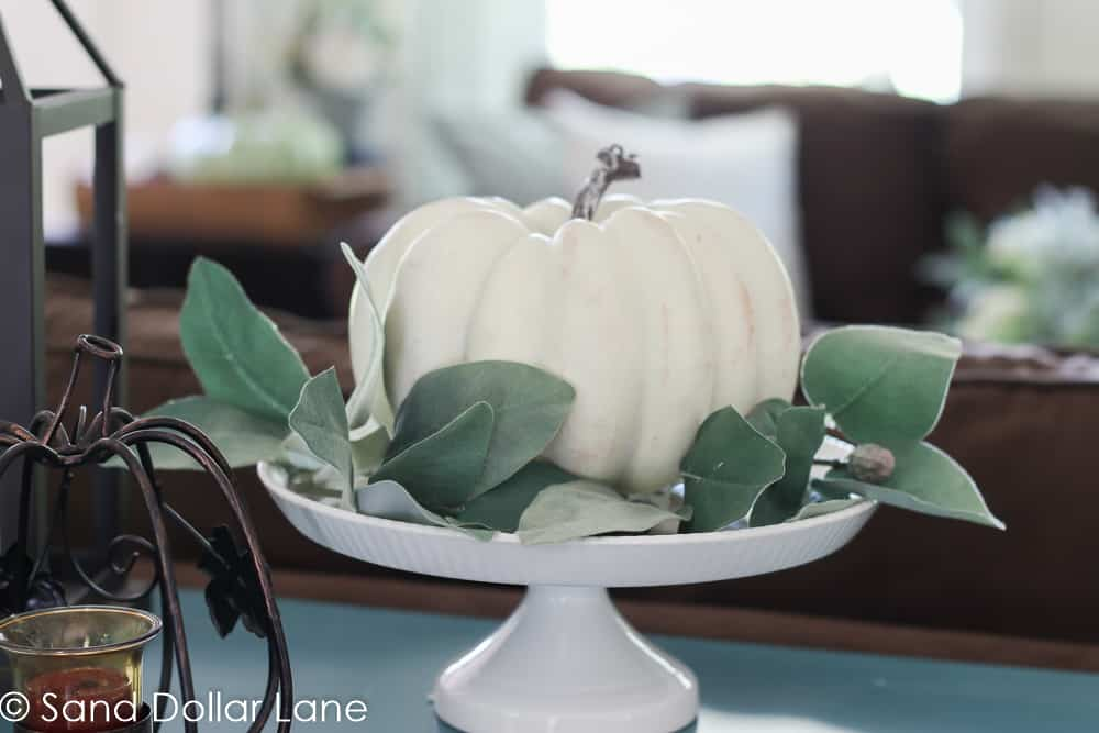white pumpkin with greenery