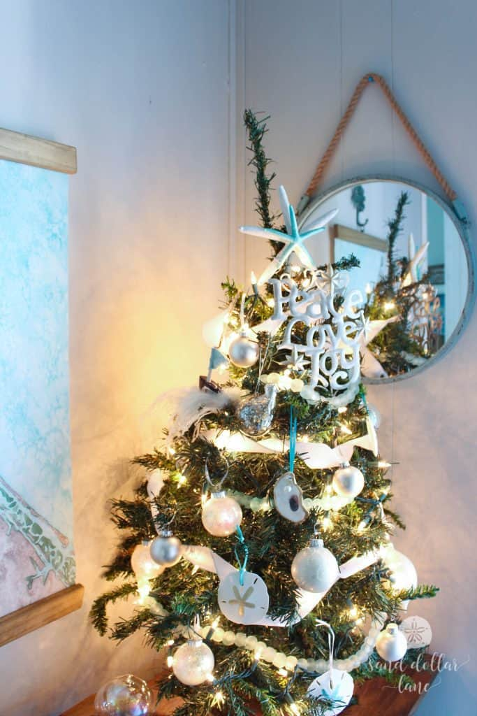 Aqua and white coastal Christmas tree