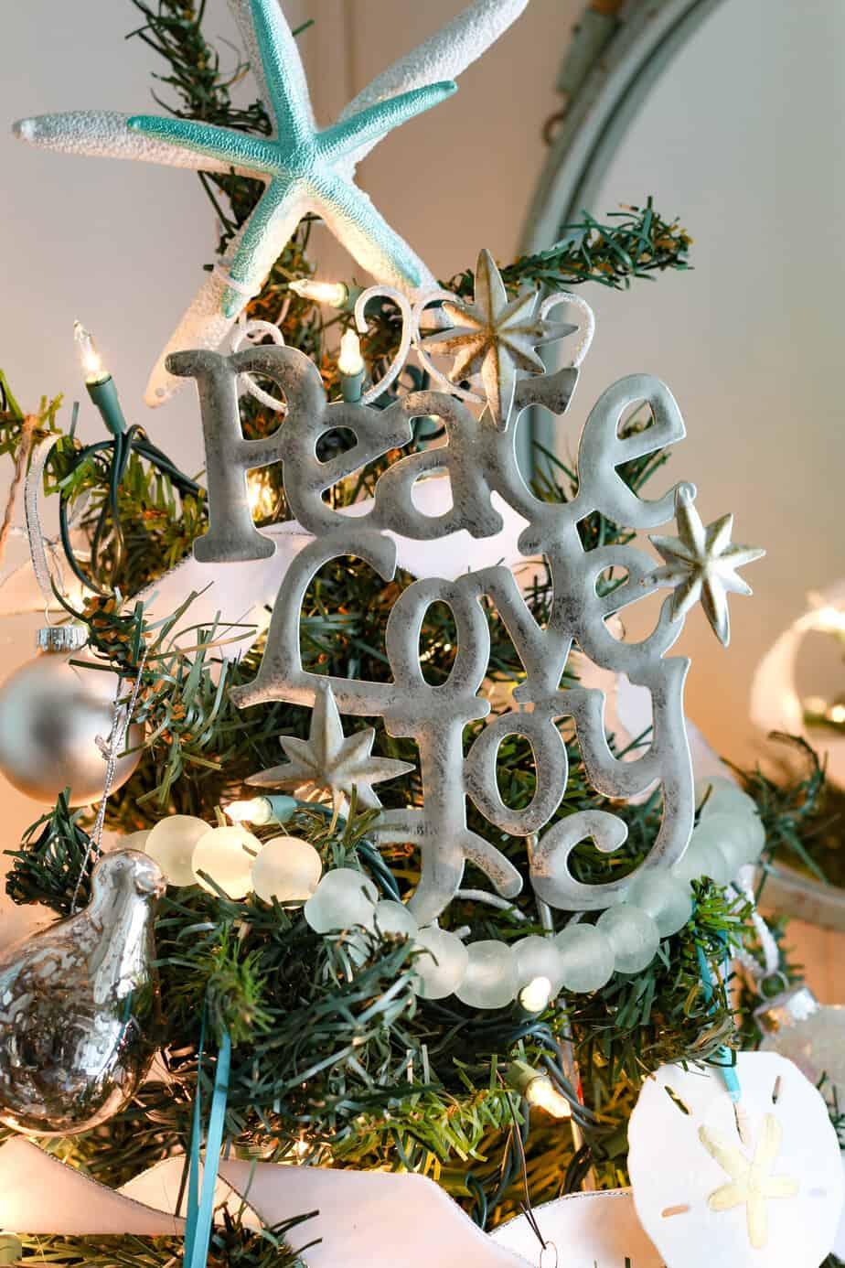 aqua and white coastal christmas tree - Coastal Christmas Tree