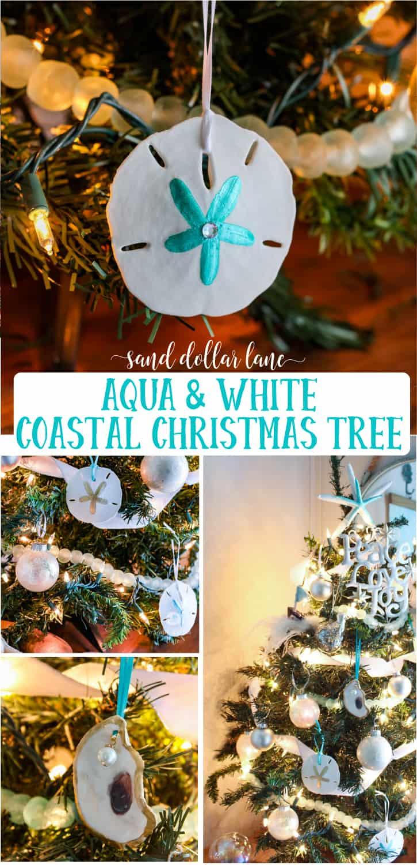 aqua and white coastal christmas tree sand dollar lane