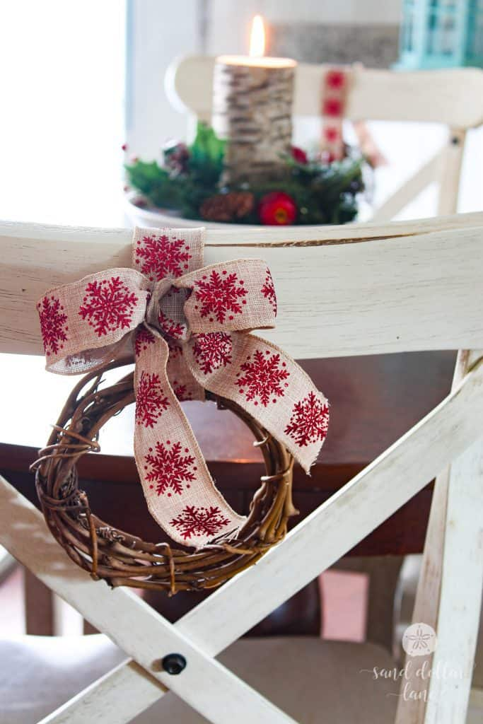 cute bows on back of kitchen chairs!