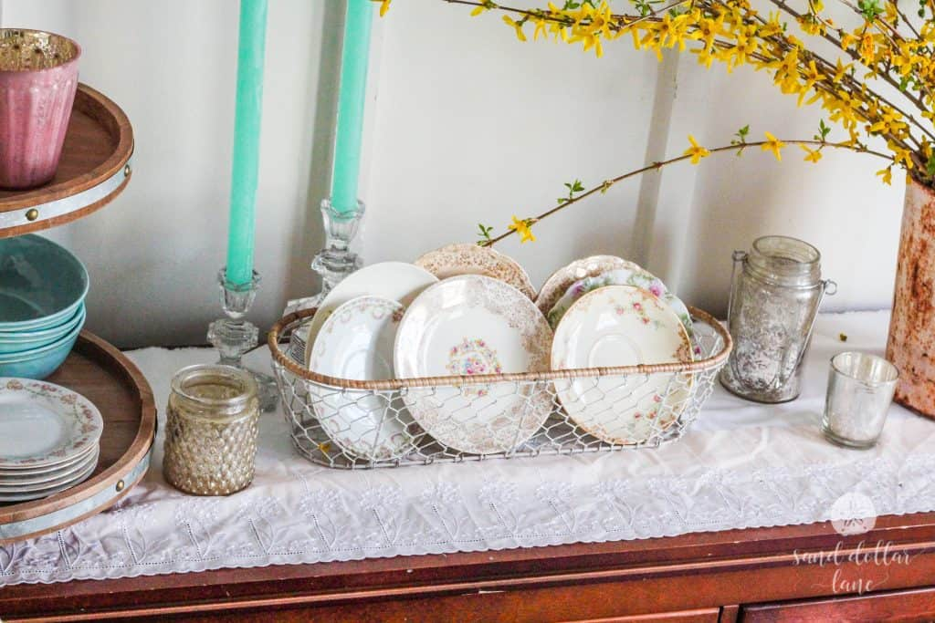 antique china saucers in Spring dining room