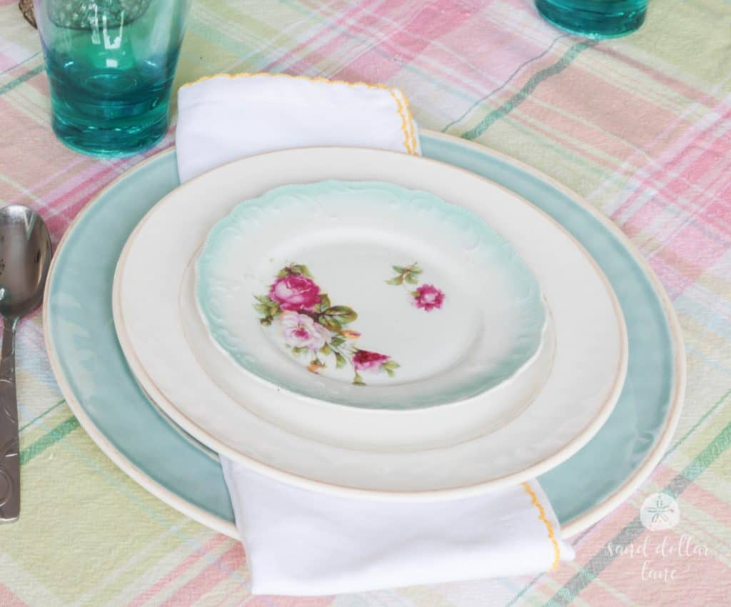 vintage china plate in Spring Dining Room