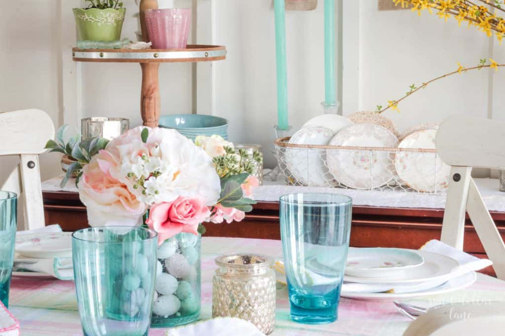 aqua and pink Spring Tablescape