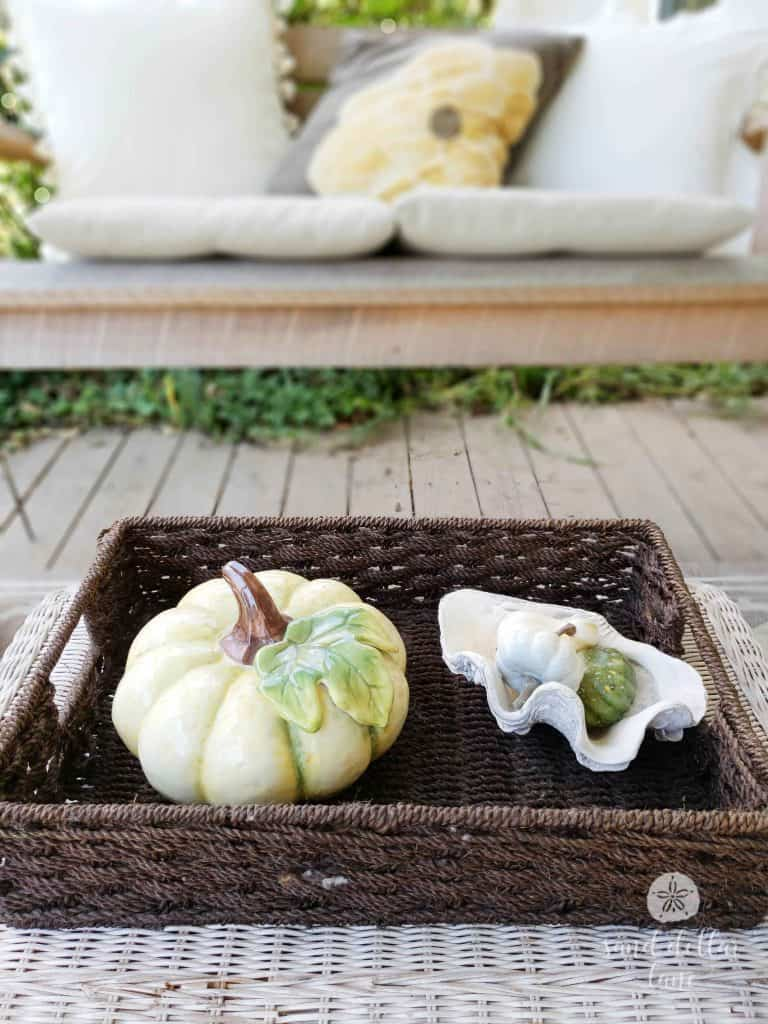 Simple Coastal Style Fall porch decorating- Sand Dollar Lane
