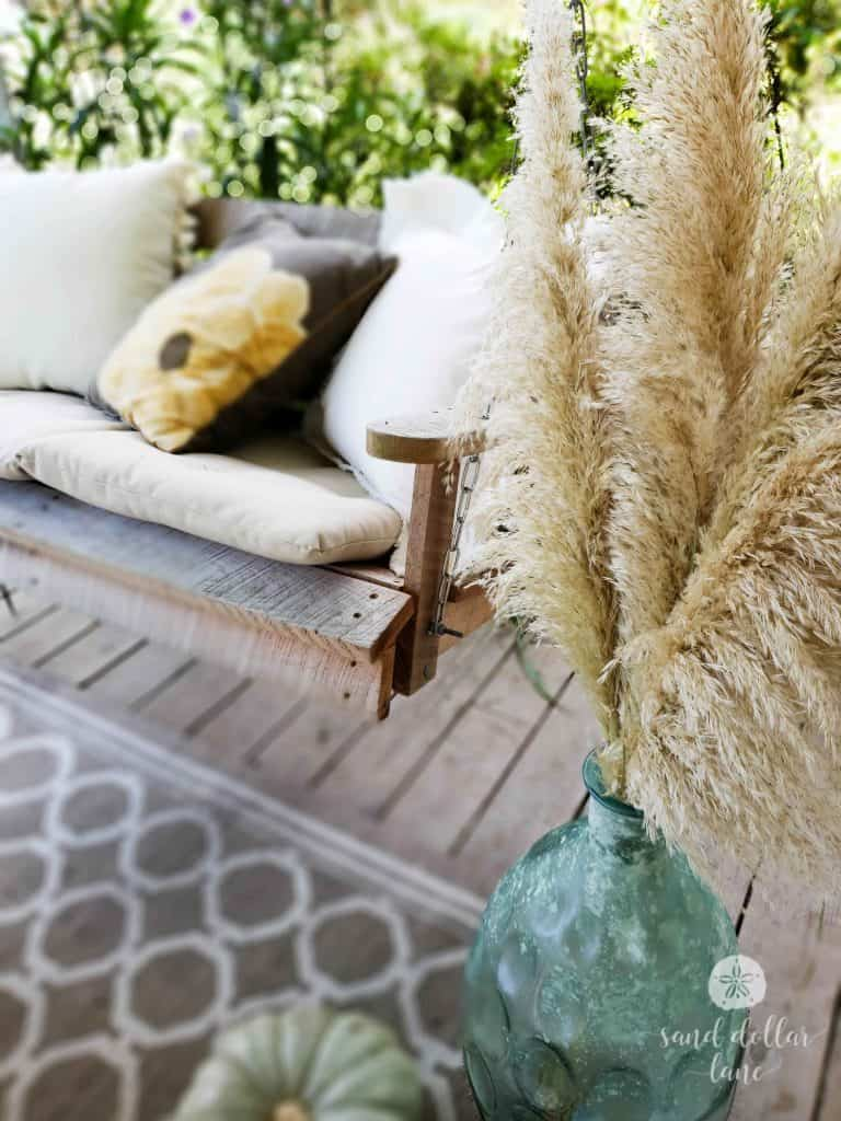 Simple Coastal Style Fall decorating with pampas grass - Sand Dollar Lane
