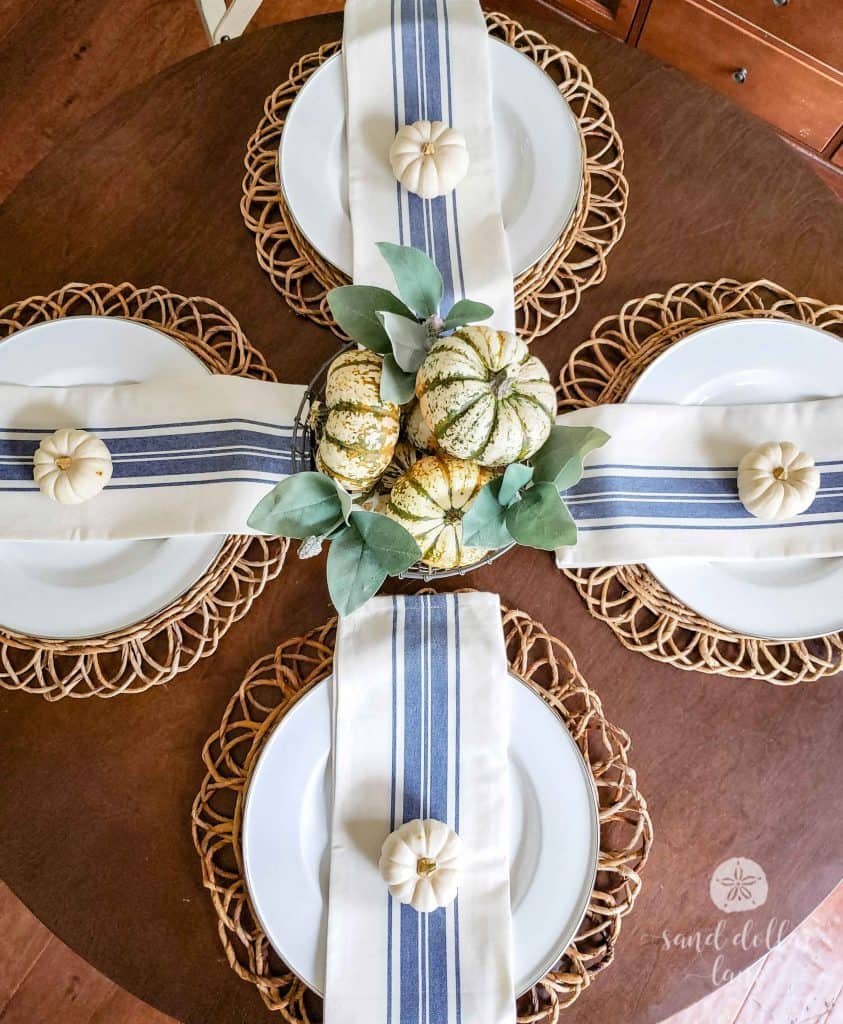 Simple Coastal Style Fall Dining Room tablescape Sand Dollar Lane