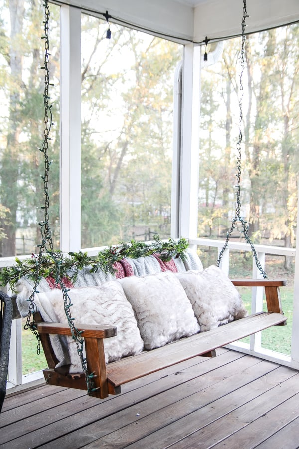 Cute porch decorated for Christmas