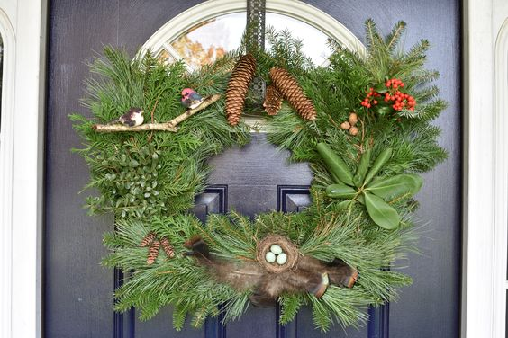 Non traditional Christmas door decor
