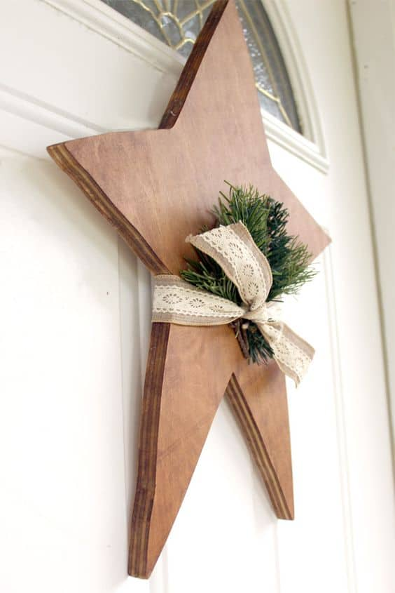 wooden star Christmas door decor