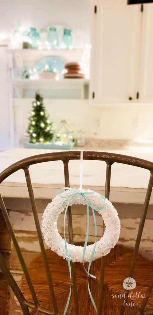 Cute wreath on back of bar stool