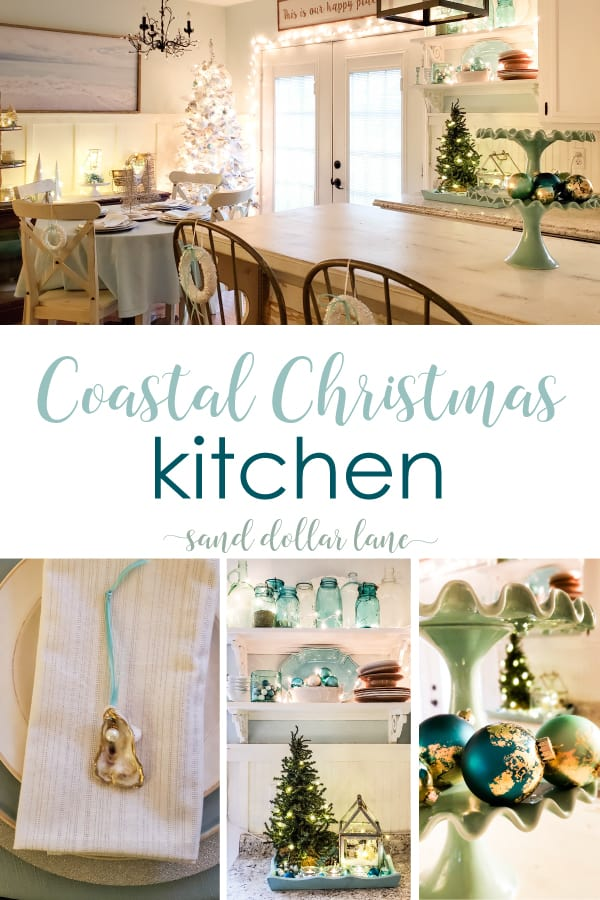 Coastal Kitchen decorated for Christmas - Sand Dollar Lane
