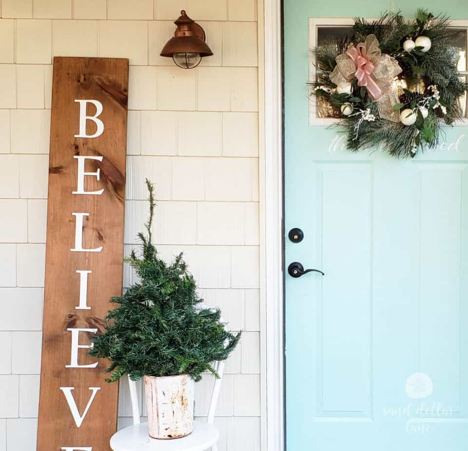 rose gold Christmas porch