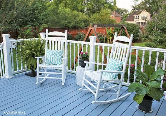 Inspiring back porch ideas - rocking chairs on painted deck. #backporch #backdeck #backyardinspiration