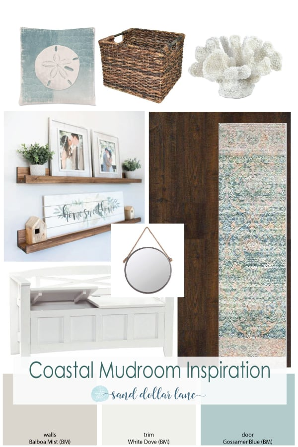 coastal mudroom entryway moodboard