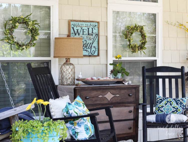 Cute dresser on front porch