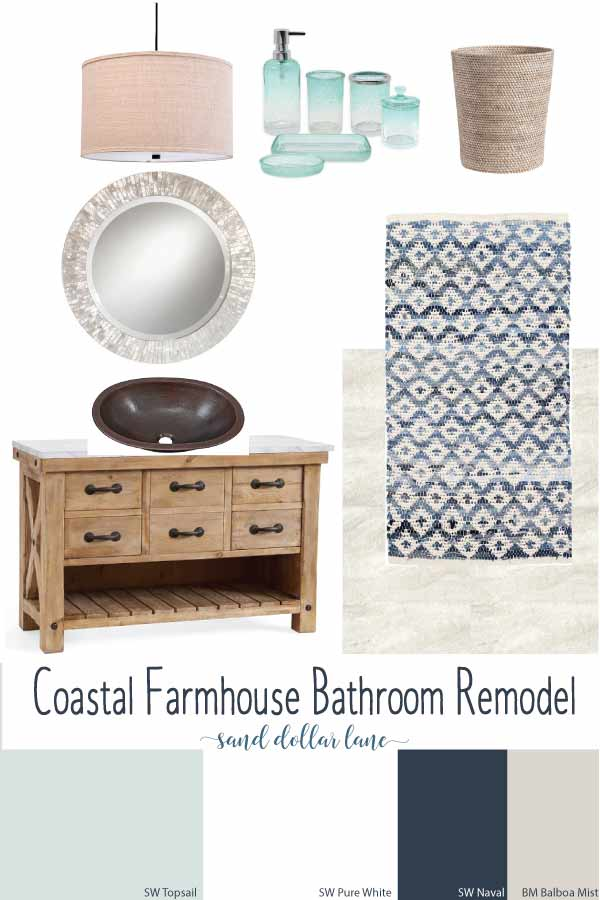 coastal farmhouse bathroom moodboard