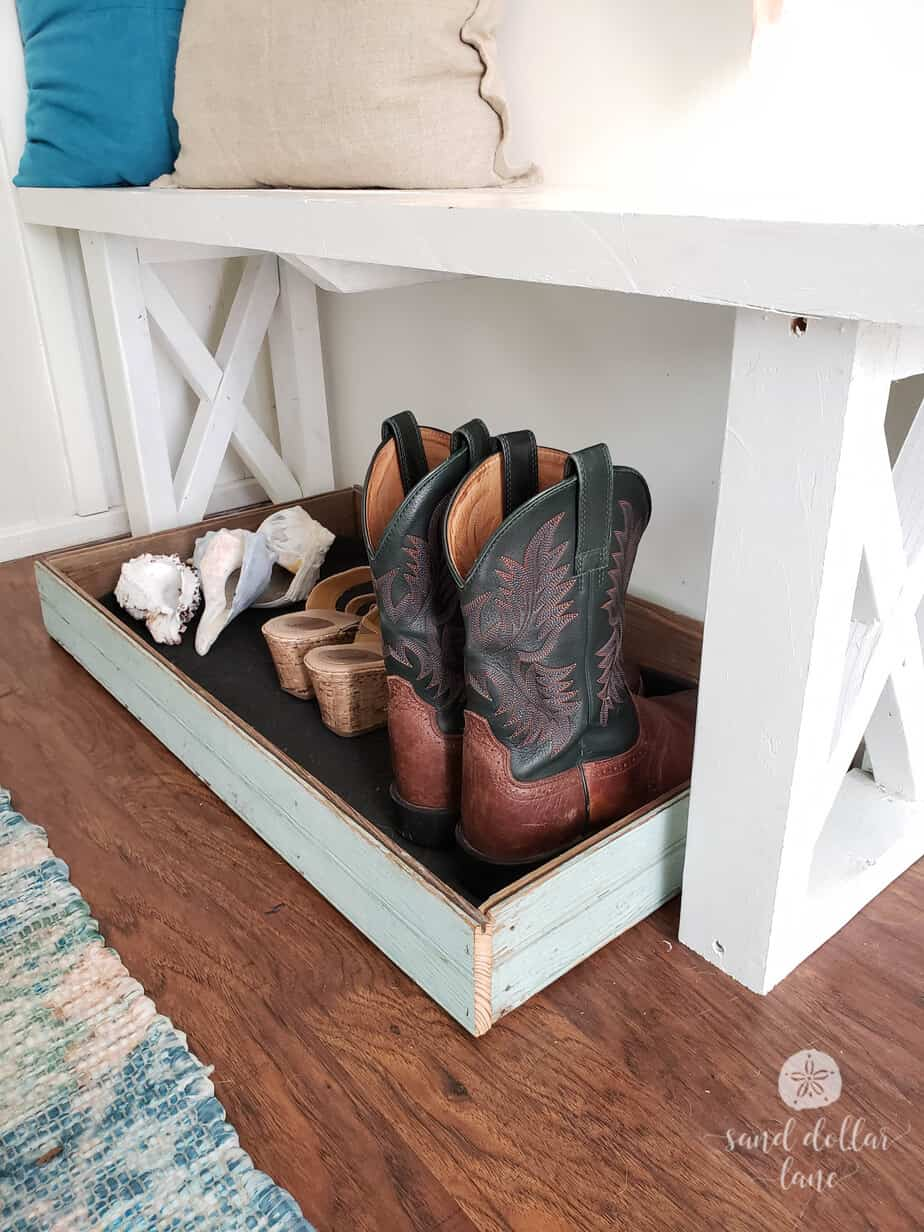 Cute boot tray for mudroom organization