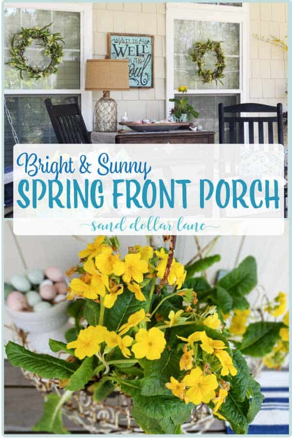 Pretty yellow flowers on porch decorated for spring