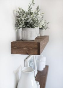 wooden shelves for laundry area