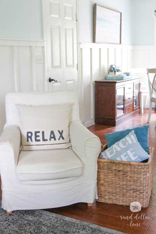 white chair in coastal living room
