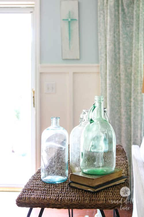 glass jars in coastal living room