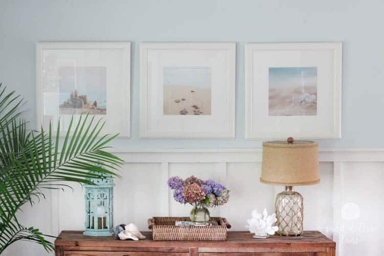 beachy prints in coastal living room
