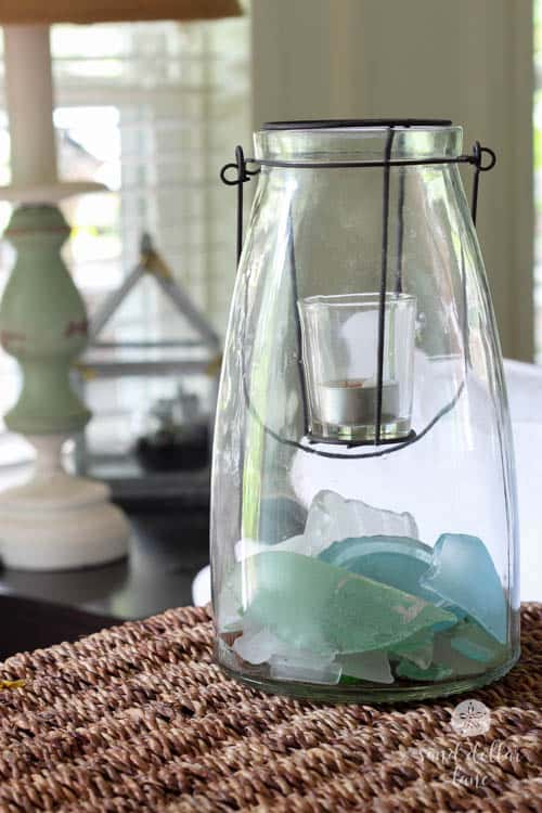 seaglass in glass candle holder