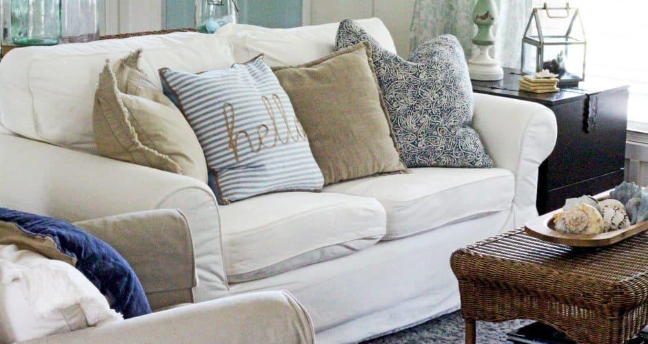 Coastal Inspired Summer Living Room