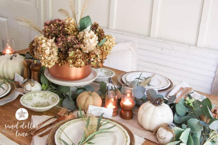 table decorated for fall