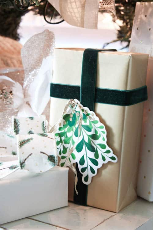 gold and green Christmas boxes