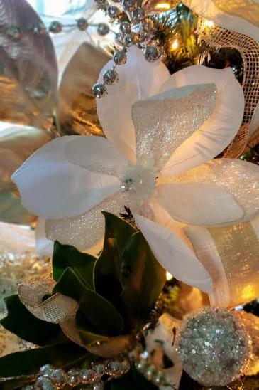magnolia flower on Christmas tree