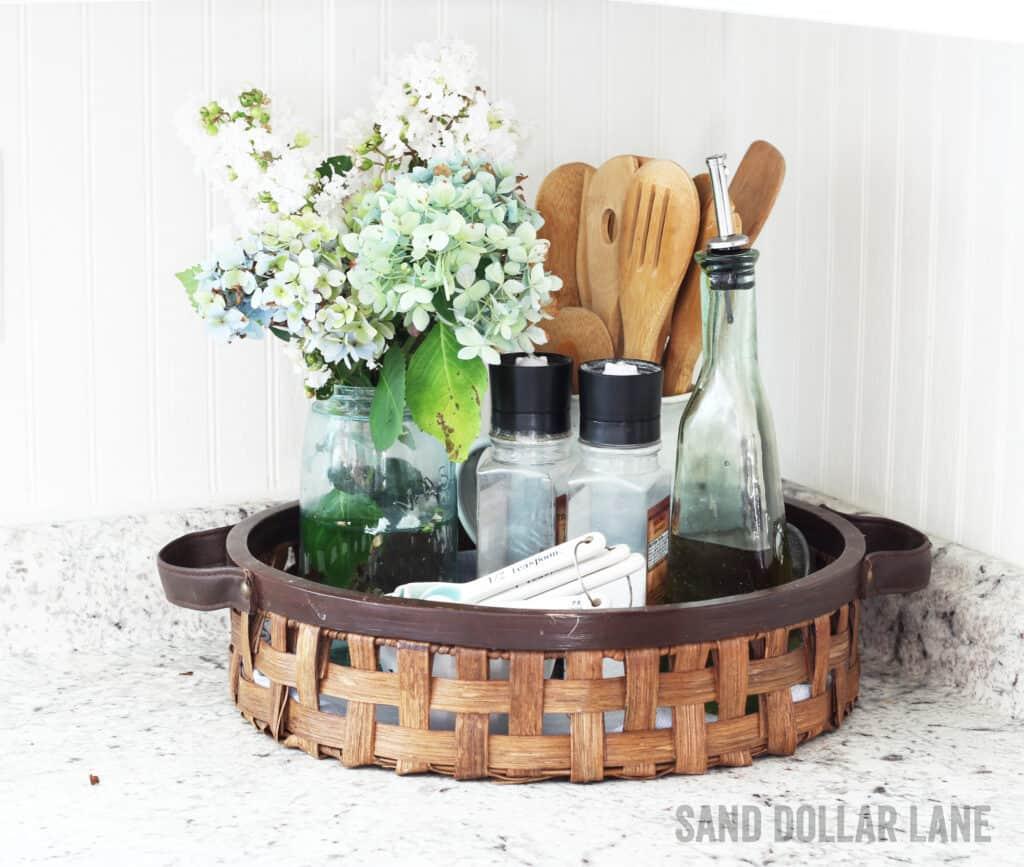 basket on kitchen counter