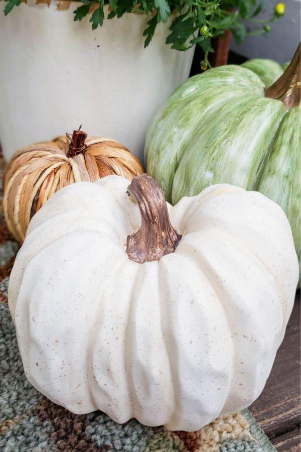 white wooden pumpkin