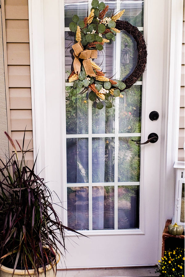 fall eucalyptus wreath on door