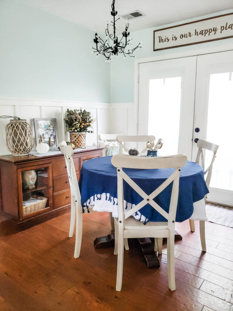 white chairs in dining room