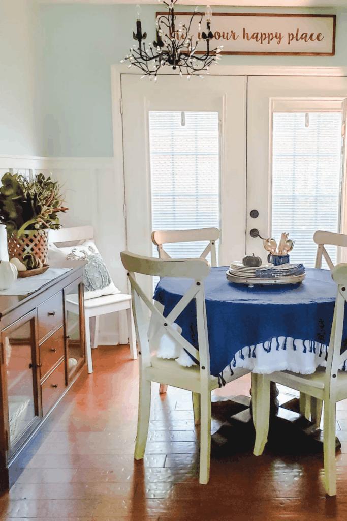 blue farmhouse dining area