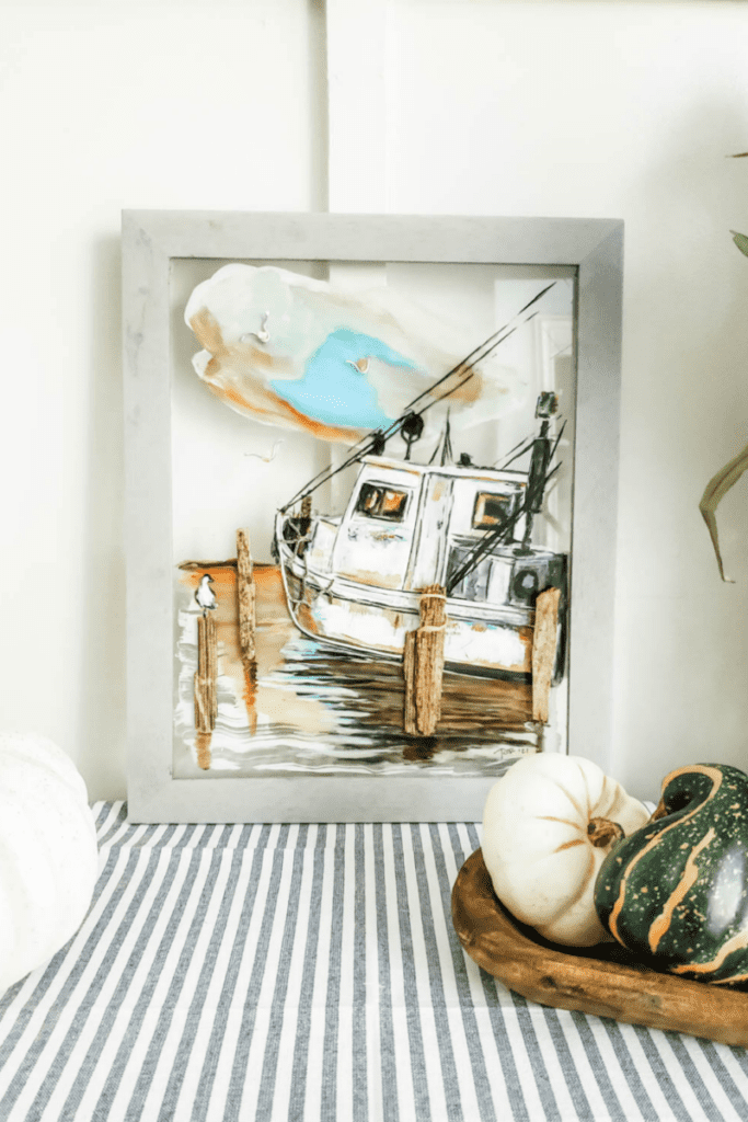 hand painted shrimp boat art