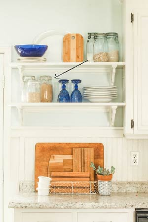 tips for decorating open shelving