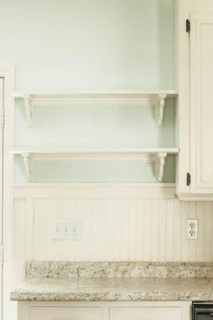 bare open kitchen shelves
